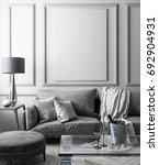 classic white interior mock up... | Shutterstock . vector #692904931
