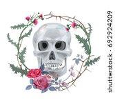 Monochrome Gray Skull With...