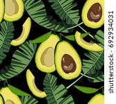 seamless pattern with avocado... | Shutterstock .eps vector #692934031
