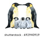 emperor penguins with children... | Shutterstock . vector #692940919