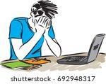 man with computer laptop vector ... | Shutterstock .eps vector #692948317