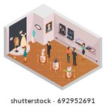 people in museum hall isometric ... | Shutterstock .eps vector #692952691