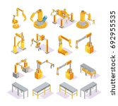 isometric set of yellow grey... | Shutterstock .eps vector #692955535