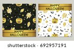 happy halloween. set of... | Shutterstock .eps vector #692957191