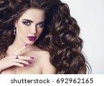 beauty hair. violet makeup.... | Shutterstock . vector #692962165