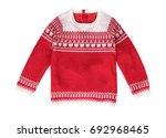 xmas holiday red knitted... | Shutterstock . vector #692968465