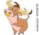 cartoon american bull  buffalo  ... | Shutterstock .eps vector #692968759