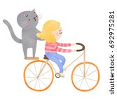super cute girl and cat... | Shutterstock . vector #692975281