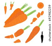 Set Of Orange Carrots Symbol...