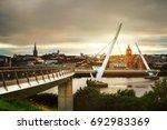derry  ireland. peace bridge in ... | Shutterstock . vector #692983369