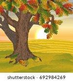 Large Oak Tree With Autumn...