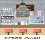 interior of coffee shop  pub ... | Shutterstock .eps vector #692993665