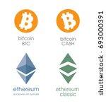 logo bitcoin and bitcoin cashe. ... | Shutterstock .eps vector #693000391