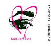 women eye and  eyebrows makeup. ... | Shutterstock .eps vector #693015421