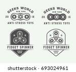 set of vintage fidget spinners... | Shutterstock .eps vector #693024961