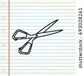 scissors doodle vector design   Shutterstock .eps vector #693028261