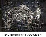 steampunk style piranha....   Shutterstock . vector #693032167
