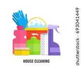 household cleaning products and ... | Shutterstock .eps vector #693041449