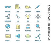 science vector line icons with... | Shutterstock .eps vector #693044071