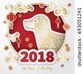 dog is a symbol of the 2018... | Shutterstock .eps vector #693051241