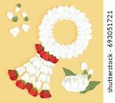 jasmine garland for mother's... | Shutterstock .eps vector #693051721