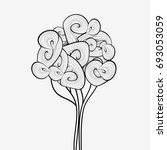 linear tree and line art plant... | Shutterstock . vector #693053059