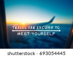 Small photo of Travel Inspirational and motivational quotes - Your wings already exist, all you have to do is fly. Retro styled blurry background.