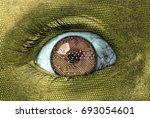 an alien reptilian eye closeup... | Shutterstock . vector #693054601