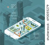 mobile gps and tracking concept.... | Shutterstock .eps vector #693055279