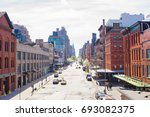 empty streets in west village...   Shutterstock . vector #693082375