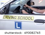 learning to drive a car.... | Shutterstock . vector #693082765