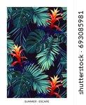 floral vertical postcard design ... | Shutterstock . vector #693085981