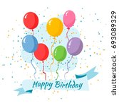birthday balloons with happy... | Shutterstock .eps vector #693089329
