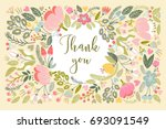 vector floral illustration in... | Shutterstock .eps vector #693091549