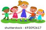 cartoon teacher or baby sitter... | Shutterstock .eps vector #693092617