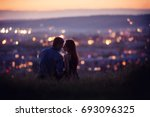 lovers man and girl against... | Shutterstock . vector #693096325