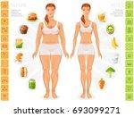 healthy vs unhealthy people... | Shutterstock .eps vector #693099271