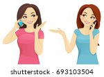 friends talking on phone   Shutterstock .eps vector #693103504