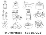 vector set of line spa icons.... | Shutterstock .eps vector #693107221