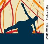 fitness ball woman vector... | Shutterstock .eps vector #693126559