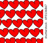 red hearts background pattern | Shutterstock .eps vector #693136867