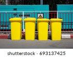 yellow garbage bin in the... | Shutterstock . vector #693137425
