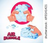 squeezing bubble wrap. bubble...   Shutterstock .eps vector #693141421