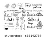 Hand Drawn Doodle Set For...