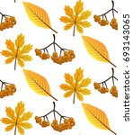 seamless pattern with autumn... | Shutterstock .eps vector #693143065