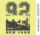 brooklyn bridge illustration ... | Shutterstock .eps vector #693150757