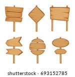 wooden direction sign isolated... | Shutterstock . vector #693152785