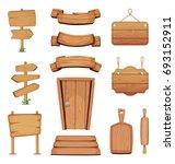 illustration of wooden... | Shutterstock . vector #693152911