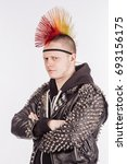 portrait of punk rocker with... | Shutterstock . vector #693156175