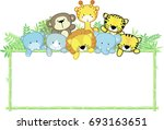 Stock vector cute baby animals jungle plants and bamboo frame children s design 693163651